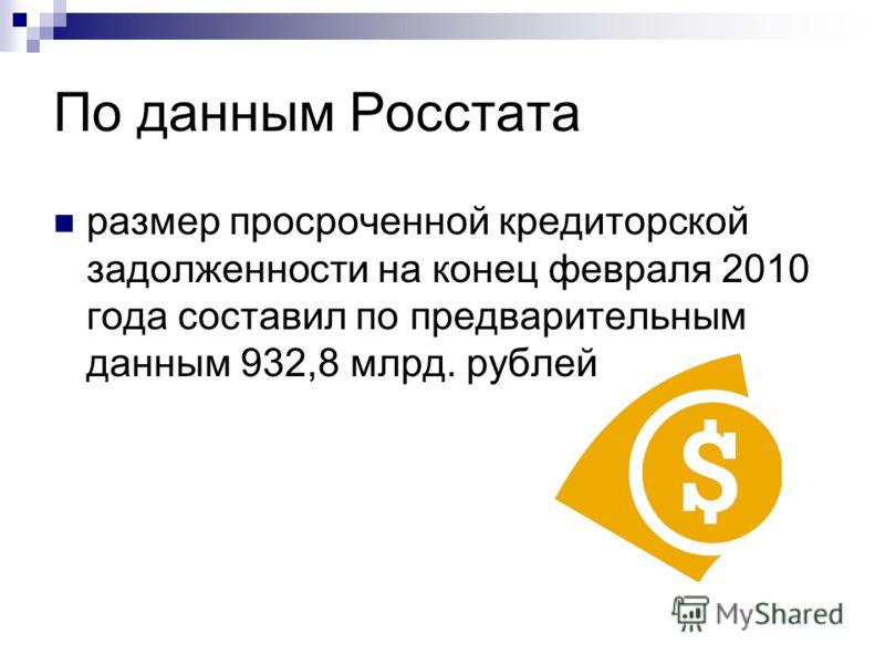 По данным Росстата размер просроченной кредиторской задолженности на конец февраля 2010 года составил по предварительным данным 932,8 млрд. рублей