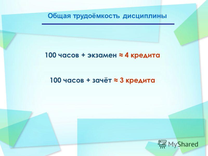 100 часов + экзамен 4 кредита 100 часов + зачёт 3 кредита Общая трудоёмкость дисциплины