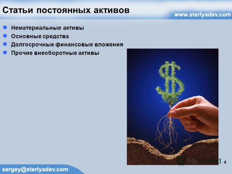 Статьи постоянных активов Нематериальные активы Основные средства Долгосрочные финансовые вложения Прочие внеоборотные активы 4