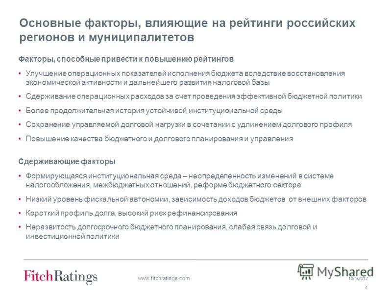 7/19/2012 3 www.fitchratings.com Основные факторы, влияющие на рейтинги российских регионов и муниципалитетов Факторы, способные привести к повышению рейтингов Улучшение операционных показателей исполнения бюджета вследствие восстановления экономичес