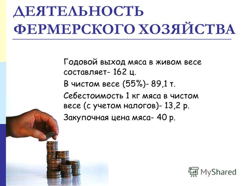 ДЕЯТЕЛЬНОСТЬ ФЕРМЕРСКОГО ХОЗЯЙСТВА Годовой выход мяса в живом весе составляет- 162 ц. В чистом весе (55%)- 89,1 т. Себестоимость 1 кг мяса в чистом весе (с учетом налогов)- 13,2 р. Закупочная цена мяса- 40 р.