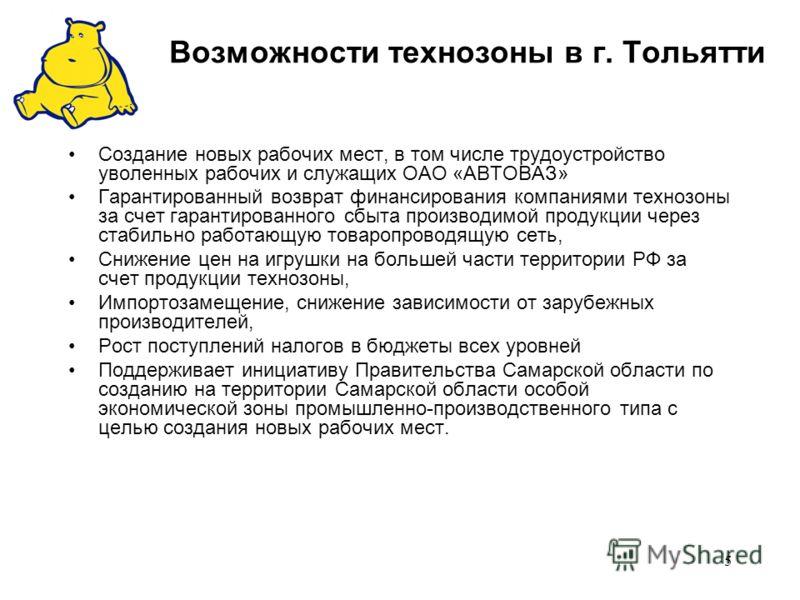 5 Возможности технозоны в г. Тольятти Создание новых рабочих мест, в том числе трудоустройство уволенных рабочих и служащих ОАО «АВТОВАЗ» Гарантированный возврат финансирования компаниями технозоны за счет гарантированного сбыта производимой продукци
