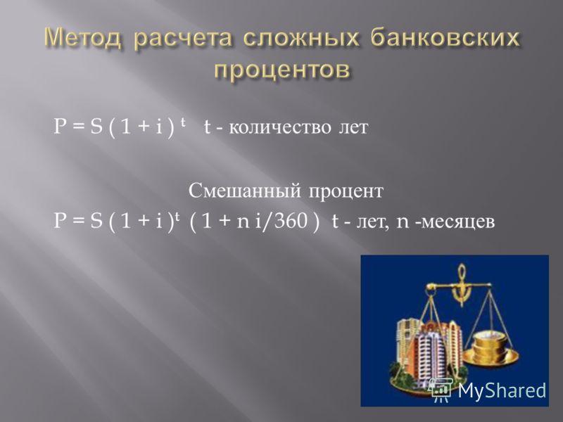 P = S ( 1 + i ) t t - количество лет Смешанный процент P = S ( 1 + i ) t ( 1 + n i/360 ) t - лет, n - месяцев