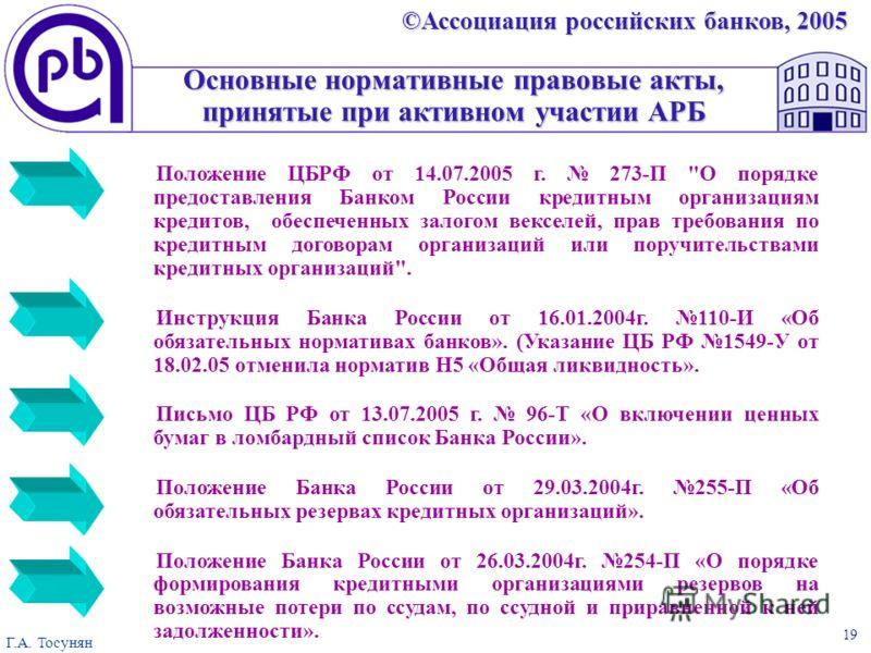 ©Ассоциация российских банков, 2005 Г.А. Тосунян 19 Основные нормативные правовые акты, принятые при активном участии АРБ Положение ЦБРФ от 14.07.2005 г. 273-П