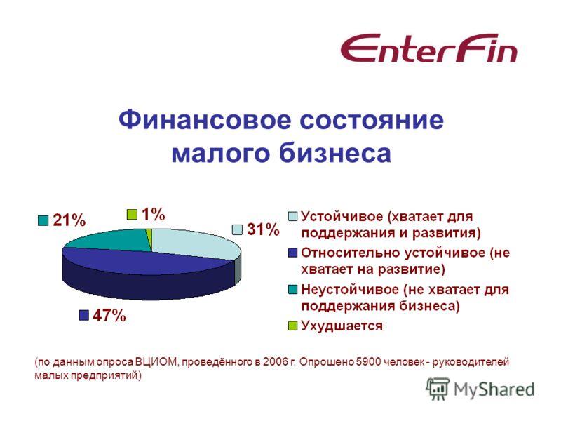 Финансовое состояние малого бизнеса (по данным опроса ВЦИОМ, проведённого в 2006 г. Опрошено 5900 человек - руководителей малых предприятий)