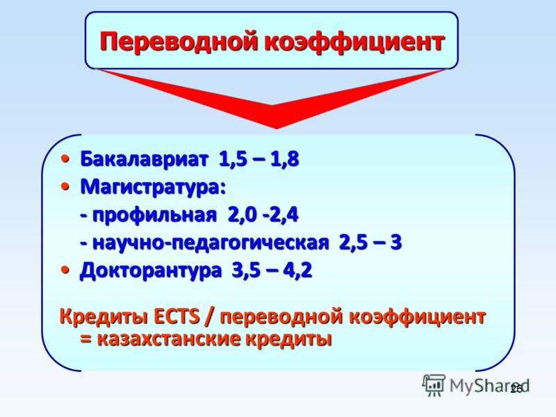 26 Переводной коэффициент Бакалавриат 1,5 – 1,8Бакалавриат 1,5 – 1,8 Магистратура:Магистратура: - профильная 2,0 -2,4 - научно-педагогическая 2,5 – 3 Докторантура 3,5 – 4,2Докторантура 3,5 – 4,2 Кредиты ECTS / переводной коэффициент = казахстанские к