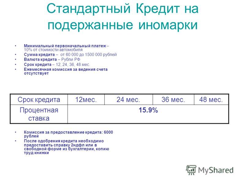 Стандартный Кредит на подержанные иномарки Минимальный первоначальный платеж – 10% от стоимости автомобиля Сумма кредита – от 60 000 до 1500 000 рублей Валюта кредита – Рубли РФ Срок кредита – 12, 24, 36, 48 мес. Ежемесячная комиссия за ведения счета