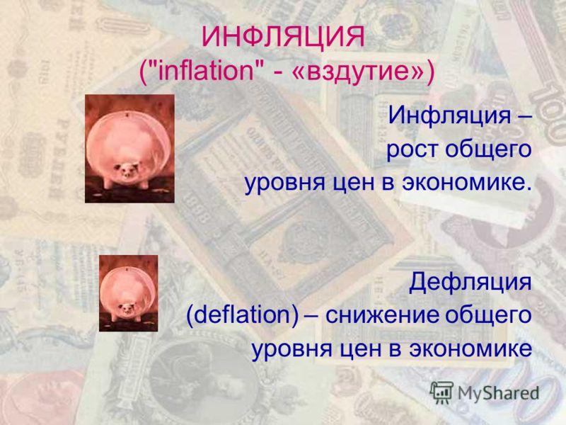 ИНФЛЯЦИЯ (inflation - «вздутие») Инфляция – рост общего уровня цен в экономике. Дефляция (deflation) – снижение общего уровня цен в экономике