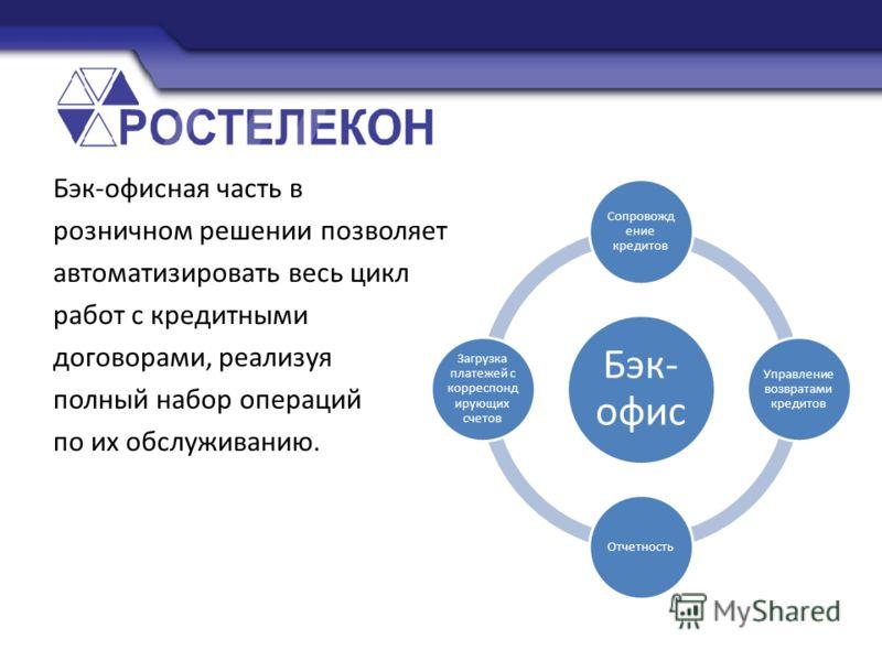 Бэк-офисная часть в розничном решении позволяет автоматизировать весь цикл работ с кредитными договорами, реализуя полный набор операций по их обслуживанию. Бэк- офис Сопровожд ение кредитов Управление возвратами кредитов Отчетность Загрузка платежей