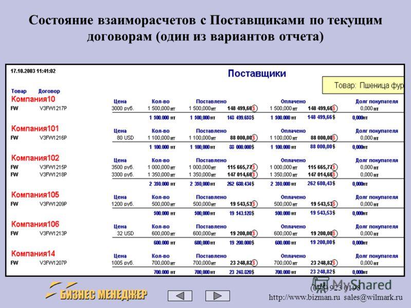 (095) 923 0198 http://www.bizman.ru sales@wilmark.ru Состояние взаиморасчетов с Поставщиками по текущим договорам (один из вариантов отчета)