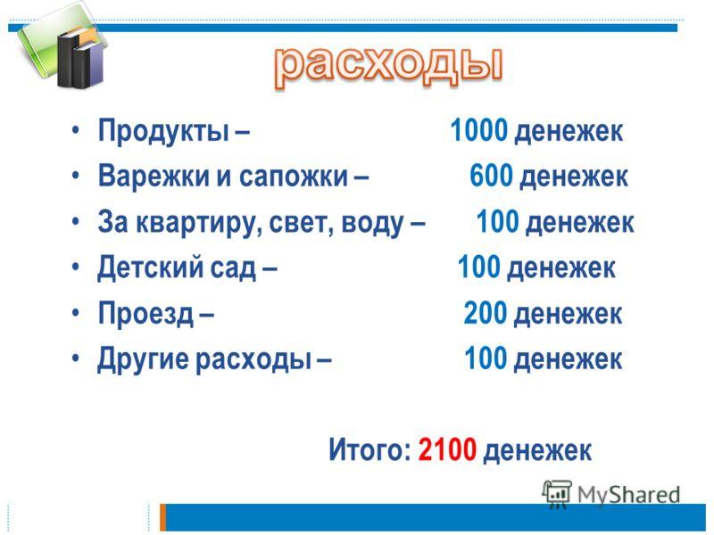 Продукты – 1000 денежек Варежки и сапожки – 600 денежек За квартиру, свет, воду – 100 денежек Детский сад – 100 денежек Проезд – 200 денежек Другие расходы – 100 денежек Итого: 2100 денежек