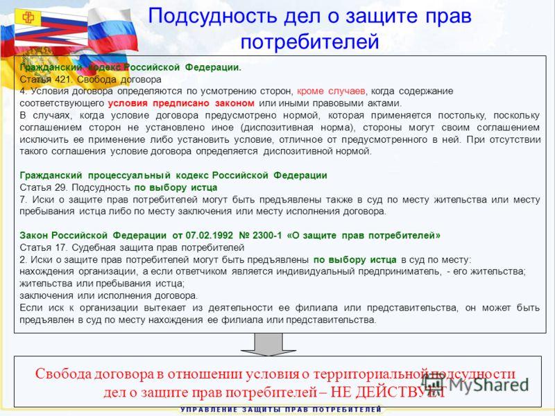 Подсудность дел о защите прав потребителей Гражданский кодекс Российской Федерации. Статья 421. Свобода договора 4. Условия договора определяются по усмотрению сторон, кроме случаев, когда содержание соответствующего условия предписано законом или ин