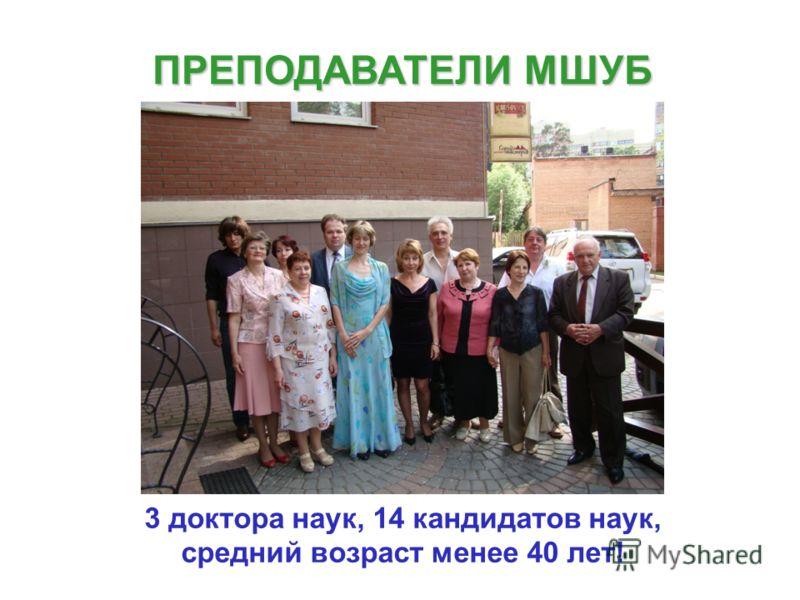 ПРЕПОДАВАТЕЛИ МШУБ 3 доктора наук, 14 кандидатов наук, средний возраст менее 40 лет!