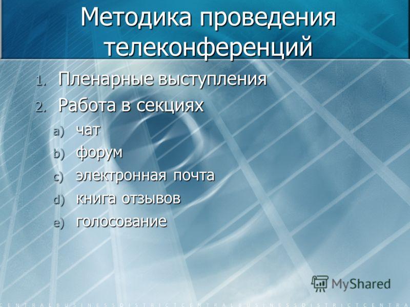 Методика проведения телеконференций 1. Пленарные выступления 2. Работа в секциях a) чат b) форум c) электронная почта d) книга отзывов e) голосование