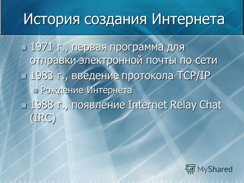 История создания Интернета 1971 г., первая программа для отправки электронной почты по сети 1971 г., первая программа для отправки электронной почты по сети 1983 г., введение протокола TCP/IP 1983 г., введение протокола TCP/IP Рождение Интернета Рожд