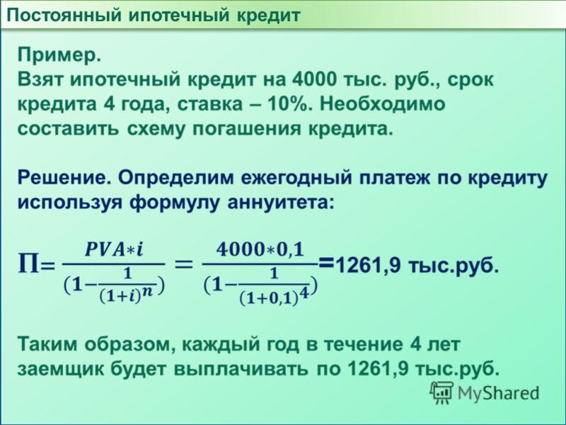Постоянный ипотечный кредит
