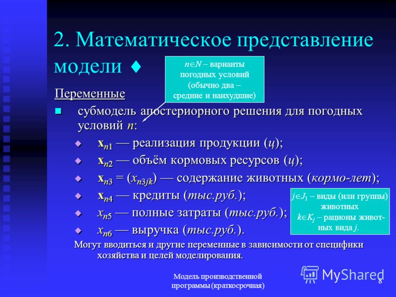 Модель производственной программы (краткосрочная) 8 2. Математическое представление модели Переменные субмодель апостериорного решения для погодных условий n: субмодель апостериорного решения для погодных условий n: x n1 реализация продукции (ц); x n