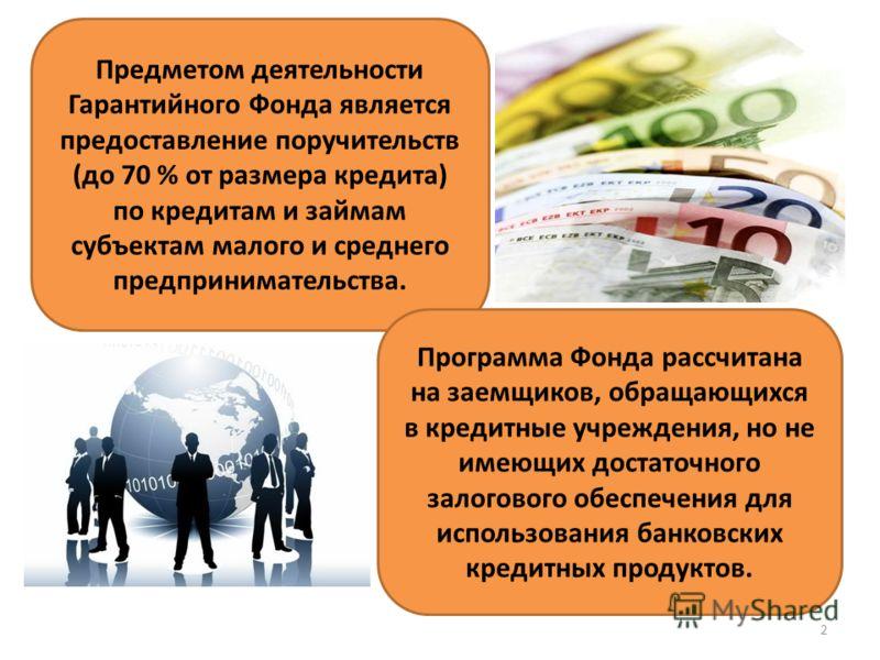Предметом деятельности Гарантийного Фонда является предоставление поручительств (до 70 % от размера кредита) по кредитам и займам субъектам малого и среднего предпринимательства. Программа Фонда рассчитана на заемщиков, обращающихся в кредитные учреж