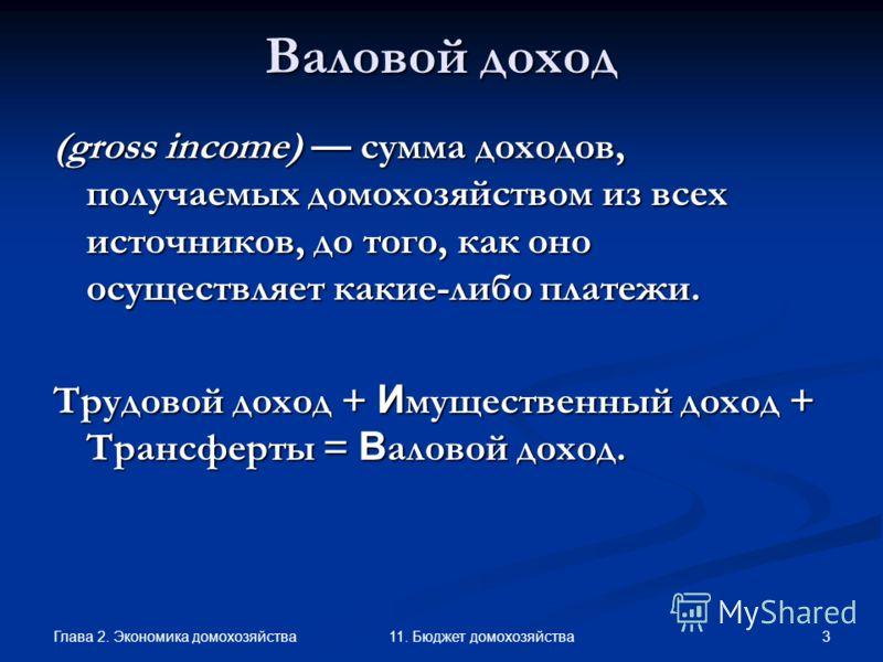 Глава 2. Экономика домохозяйства 3 11. Бюджет домохозяйства Валовой доход (gross income) сумма доходов, получаемых домохозяйством из всех источников, до того, как оно осуществляет какие-либо платежи. Трудовой доход + И мущественный доход + Трансферты