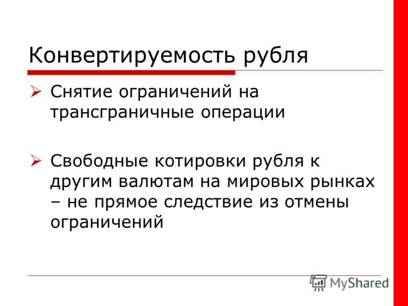 Конвертируемость рубля Снятие ограничений на трансграничные операции Свободные котировки рубля к другим валютам на мировых рынках – не прямое следствие из отмены ограничений