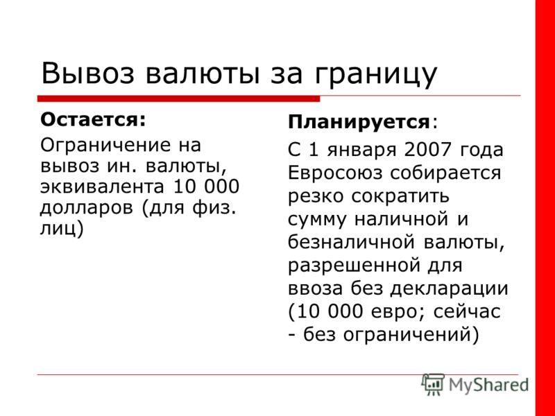 Вывоз валюты за границу Остается: Ограничение на вывоз ин. валюты, эквивалента 10 000 долларов (для физ. лиц) Планируется: С 1 января 2007 года Евросоюз собирается резко сократить сумму наличной и безналичной валюты, разрешенной для ввоза без деклара