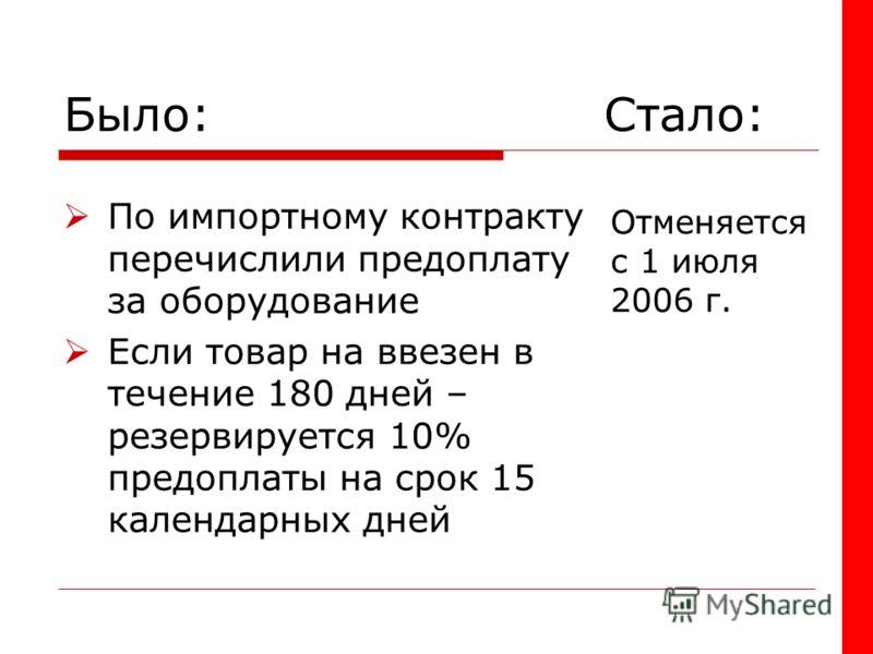 Было: Стало: По импортному контракту перечислили предоплату за оборудование Если товар на ввезен в течение 180 дней – резервируется 10% предоплаты на срок 15 календарных дней Отменяется с 1 июля 2006 г.