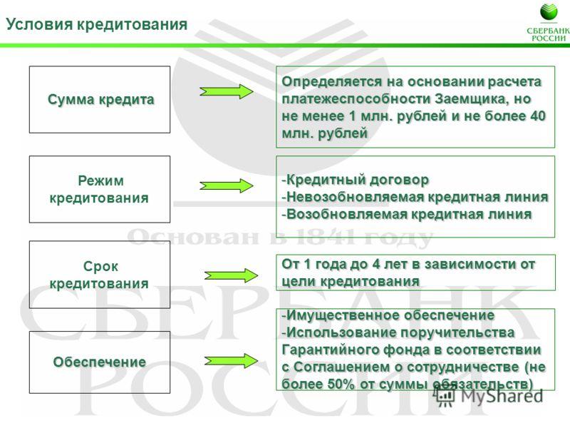 Условия кредитования Срок кредитования От 1 года до 4 лет в зависимости от цели кредитования Обеспечение -Имущественное обеспечение -Использование поручительства Гарантийного фонда в соответствии с Соглашением о сотрудничестве (не более 50% от суммы