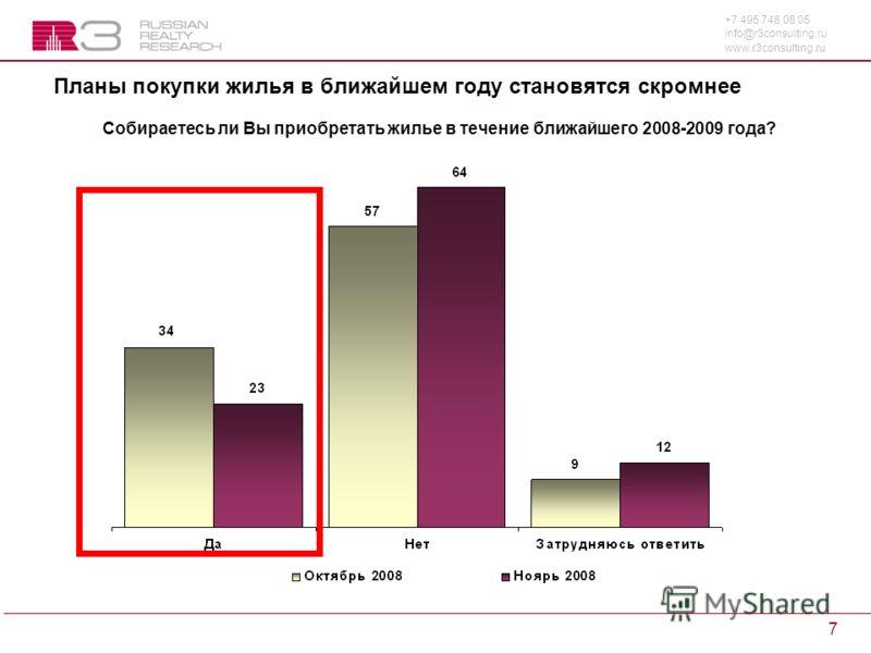 +7 495 748 08 05 info@r3consulting.ru www.r3consulting.ru 7 Планы покупки жилья в ближайшем году становятся скромнее Собираетесь ли Вы приобретать жилье в течение ближайшего 2008-2009 года?
