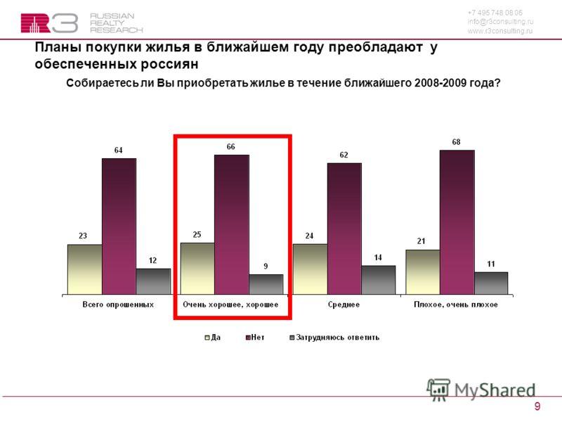 +7 495 748 08 05 info@r3consulting.ru www.r3consulting.ru 9 Планы покупки жилья в ближайшем году преобладают у обеспеченных россиян Собираетесь ли Вы приобретать жилье в течение ближайшего 2008-2009 года?