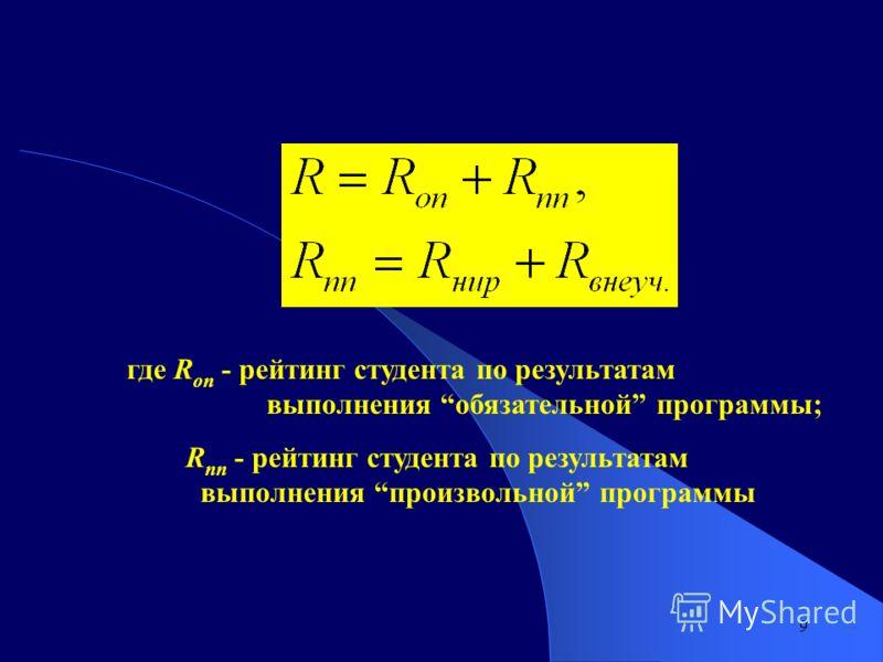 9 где R on - рейтинг студента по результатам выполнения обязательной программы; R nn - рейтинг студента по результатам выполнения произвольной программы