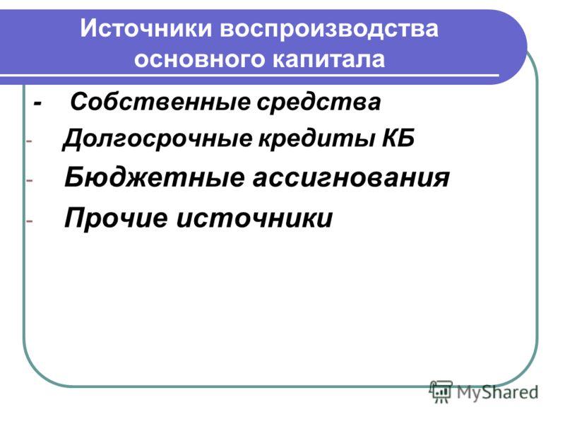 Источники воспроизводства основного капитала - Собственные средства - Долгосрочные кредиты КБ - Бюджетные ассигнования - Прочие источники