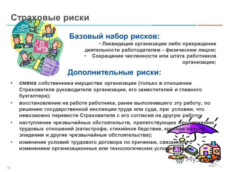 15 Базовый набор рисков: Ликвидация организации либо прекращение деятельности работодателем - физическим лицом; Сокращение численности или штата работников организации; Дополнительные риски: смена собственника имущества организации (только в отношени