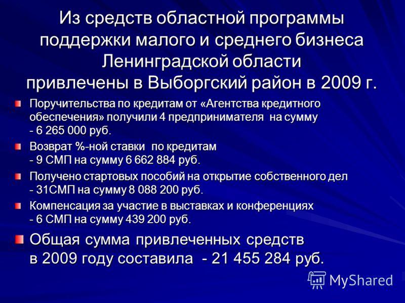 Из средств областной программы поддержки малого и среднего бизнеса Ленинградской области привлечены в Выборгский район в 2009 г. Поручительства по кредитам от «Агентства кредитного обеспечения» получили 4 предпринимателя на сумму - 6 265 000 руб. Воз