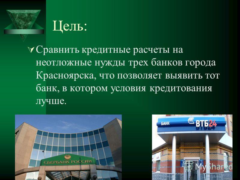 Цель: Сравнить кредитные расчеты на неотложные нужды трех банков города Красноярска, что позволяет выявить тот банк, в котором условия кредитования лучше.