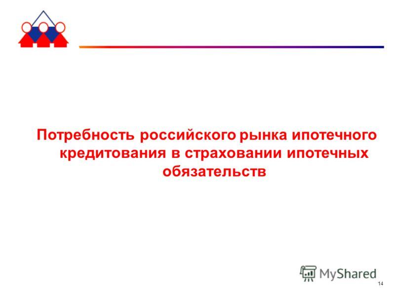 14 Потребность российского рынка ипотечного кредитования в страховании ипотечных обязательств