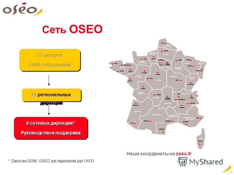 3 25 региональных дирекций 6 сетевых дирекций * Руководство и поддержка 6 сетевых дирекций * Руководство и поддержка * Dans les DOM, OSEO est représenté par lAFD Сеть OSEO 37 центров 1 000 сотрудников 37 центров 1 000 сотрудников Наши координаты на o
