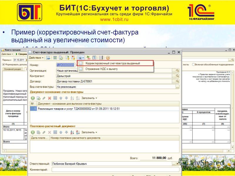 Пример (корректировочный счет-фактура выданный на увеличение стоимости) –10.10.2011 г. выписан корректировочный счет-фактура на основании счета-фактуры выданного от 01.09.2011 г. Увеличилась цена на 100 руб.