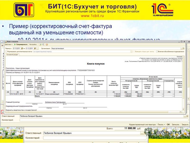 Пример (корректировочный счет-фактура выданный на уменьшение стоимости) –10.10.2011 г. выписан корректировочный счет-фактура на основании счета-фактуры выданного от 01.09.2011 г. Уменьшилась цена на 100 руб.