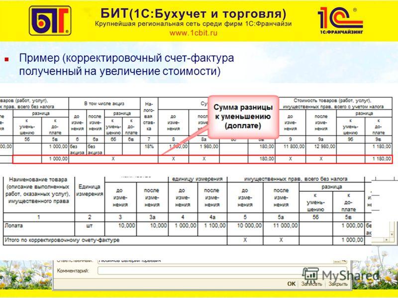 Пример (корректировочный счет-фактура полученный на увеличение стоимости) 20.10.2011 г. получен корректировочный счет-фактура Увеличилась цена на 100 руб.