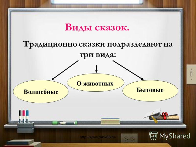 Виды сказок. О животных Традиционно сказки подразделяют на три вида: Бытовые Волшебные http://www.deti-66.ru/