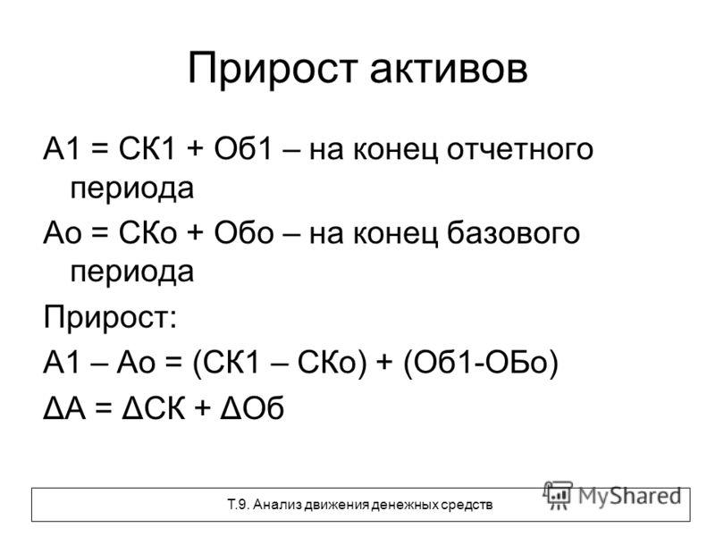 Прирост активов А1 = СК1 + Об1 – на конец отчетного периода Ао = СКо + Обо – на конец базового периода Прирост: А1 – Ао = (СК1 – СКо) + (Об1-ОБо) ΔА = ΔСК + ΔОб Т.9. Анализ движения денежных средств