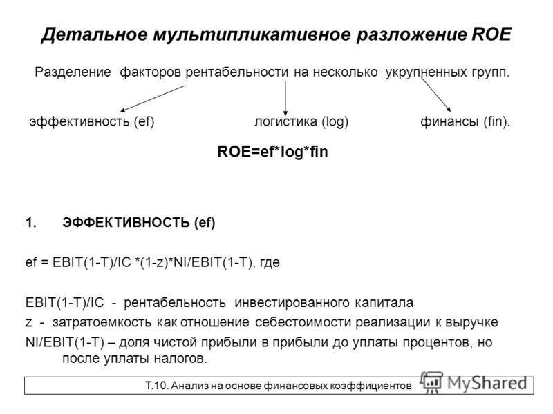 Детальное мультипликативное разложение ROE Разделение факторов рентабельности на несколько укрупненных групп. эффективность (ef) логистика (log) финансы (fin). ROE=ef*log*fin 1.ЭФФЕКТИВНОСТЬ (ef) ef = EBIT(1-T)/IC *(1-z)*NI/EBIT(1-T), где EBIT(1-T)/I