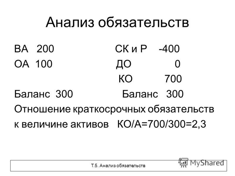 Анализ обязательств ВА 200 СК и Р -400 ОА 100 ДО 0 КО 700 Баланс 300 Отношение краткосрочных обязательств к величине активов КО/А=700/300=2,3 Т.5. Анализ обязательств