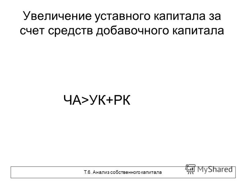 Увеличение уставного капитала за счет средств добавочного капитала ЧА>УК+РК Т.6. Анализ собственного капитала