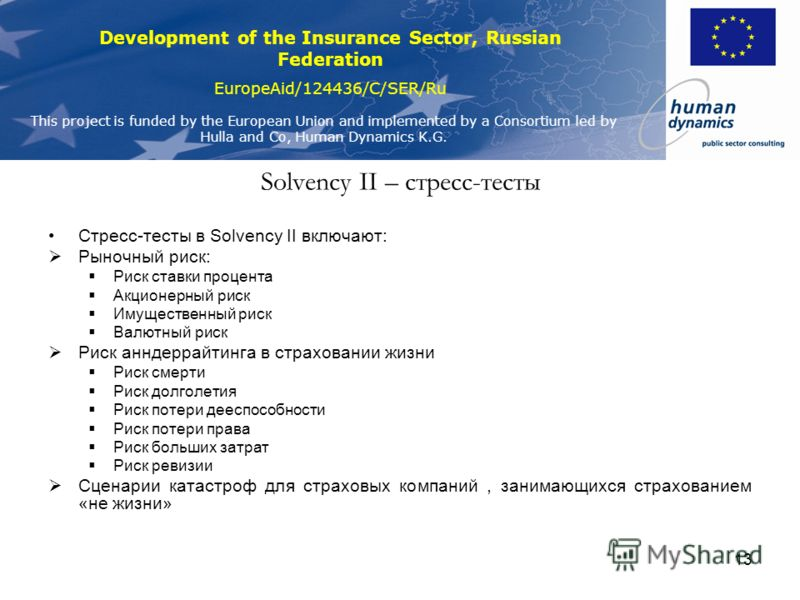 Development of the Insurance Sector, Russian Federation EuropeAid/124436/C/SER/Ru This project is funded by the European Union and implemented by a Consortium led by Hulla and Co, Human Dynamics K.G. 13 Solvency II – стресс-тесты Стресс-тесты в Solve