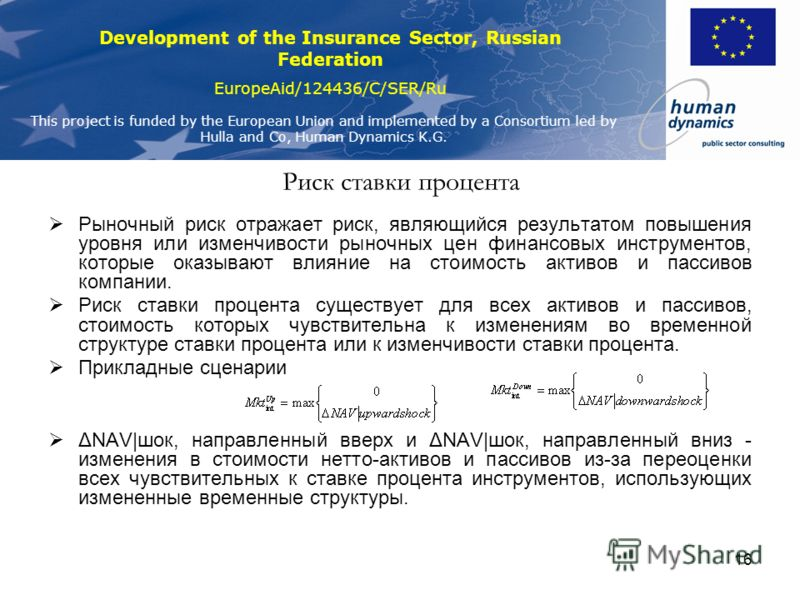 Development of the Insurance Sector, Russian Federation EuropeAid/124436/C/SER/Ru This project is funded by the European Union and implemented by a Consortium led by Hulla and Co, Human Dynamics K.G. 16 Риск ставки процента Рыночный риск отражает рис