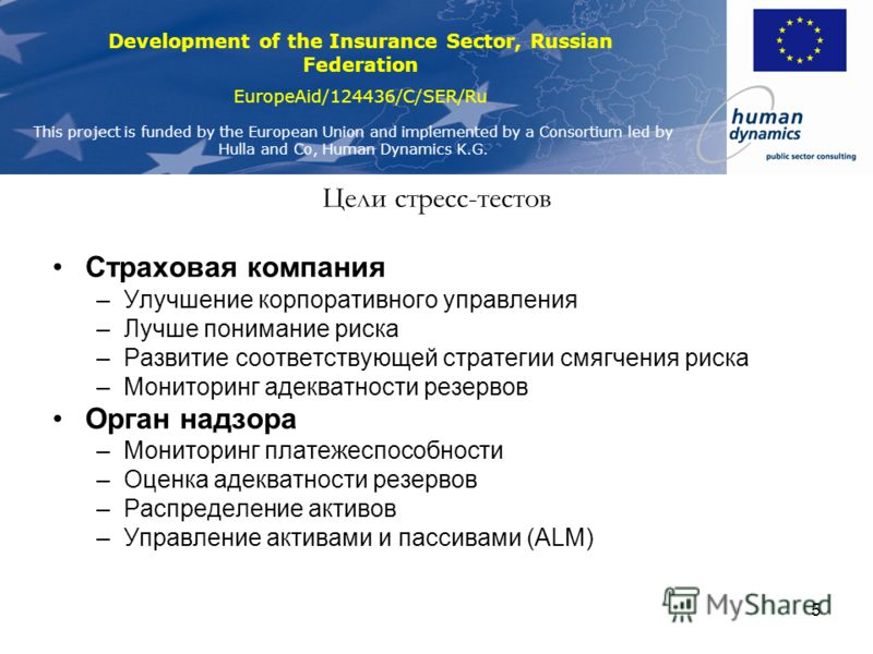 Development of the Insurance Sector, Russian Federation EuropeAid/124436/C/SER/Ru This project is funded by the European Union and implemented by a Consortium led by Hulla and Co, Human Dynamics K.G. 5 Цели стресс-тестов Страховая компания –Улучшение