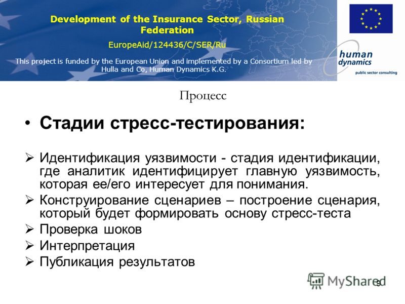 Development of the Insurance Sector, Russian Federation EuropeAid/124436/C/SER/Ru This project is funded by the European Union and implemented by a Consortium led by Hulla and Co, Human Dynamics K.G. 9 Процесс Стадии стресс-тестирования: Идентификаци