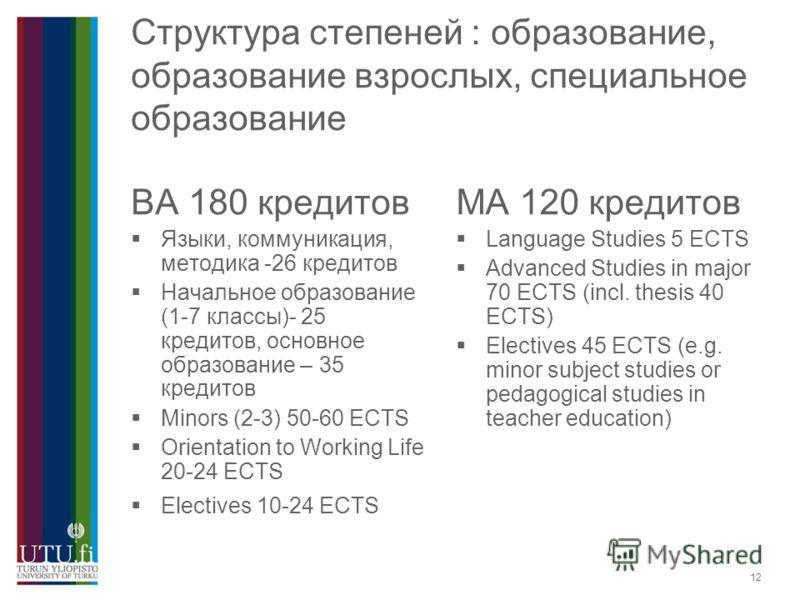 12 Структура степеней : образование, образование взрослых, специальное образование BA 180 кредитов Языки, коммуникация, методика -26 кредитов Начальное образование (1-7 классы)- 25 кредитов, основное образование – 35 кредитов Minors (2-3) 50-60 ECTS