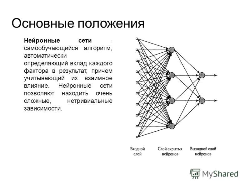 Основные положения Нейронные сети - самообучающийся алгоритм, автоматически определяющий вклад каждого фактора в результат, причем учитывающий их взаимное влияние. Нейронные сети позволяют находить очень сложные, нетривиальные зависимости.